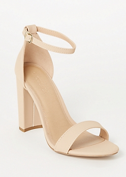 Nude Faux Leather Ankle Buckle Heels