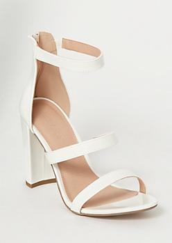 White Strappy High Heels