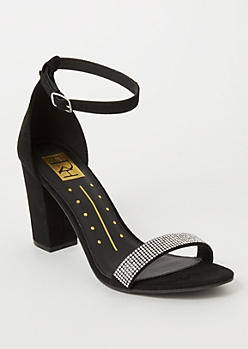 Black Faux Suede Glitz Strap Heels