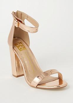 Rose Gold Metallic Ankle Strap Heels