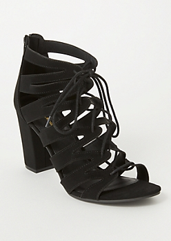 Black Zig Zag Cutout Lace Up Heels