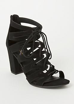 Black Zig Zag Cutout Lace Up Heels