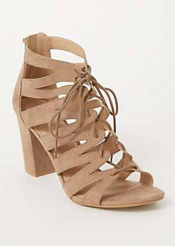 Taupe Zig Zag Cutout Lace Up Heels
