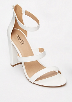 White Zip Ankle Strappy Heels