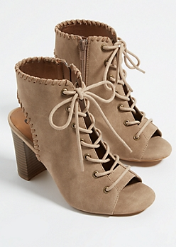 Taupe Lace-Up Whip Stitched Heels