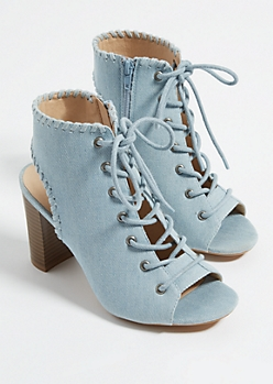 Denim Lace-Up Whip Stitched Heels