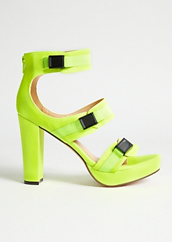 Neon Yellow Triple Buckle Strap Platform Heels