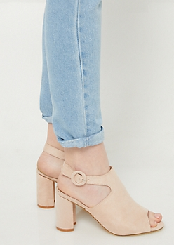 Tan Peep Toe Slingback Heels