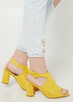 Yellow Peep Toe Slingback Heels