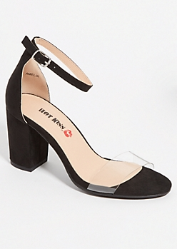 Black Clear Strap Low Block Heels