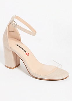 Nude Clear Strap Low Block Heels