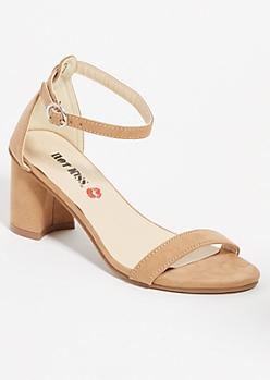 Cream Open Toe Low Block Heels