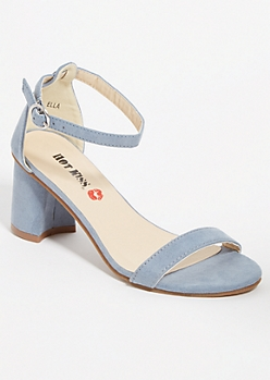 Light Blue Open Toe Low Block Heels