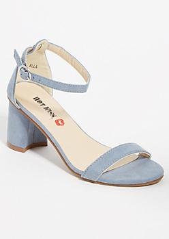 Light Blue Open Toe Low Block Heels