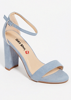 Blue Open Toe Block Heels