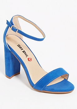 Navy Open Toe Block Heels