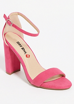 Fuchsia Open Toe Block Heels