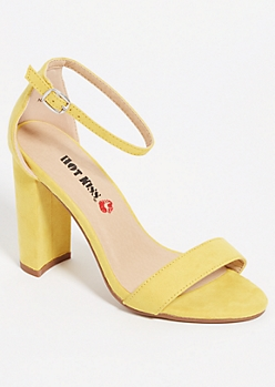 Yellow Open Toe Block Heels
