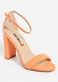 Orange Open Toe Block Heels