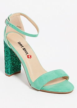 Green Glitter Block Heels