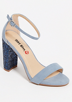 Light Blue Glitter Block Heels