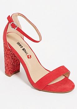 Red Glitter Block Heels