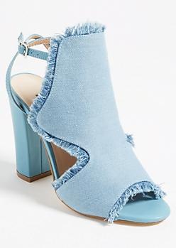 Denim Fringe Color Block Heels