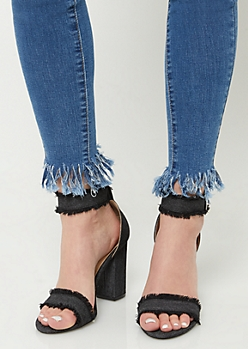 Black Denim Fringe Block Heels