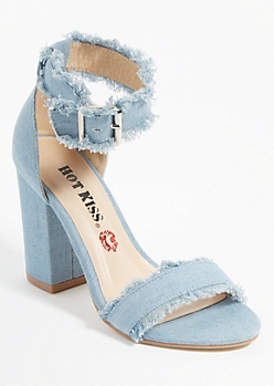 Denim Fringe Block Heels