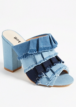 Denim Tiered Fringe Mules