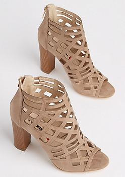 Taupe Diamond Cutout Stacked Heel