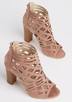 Pink Diamond Cutout Stacked Heel