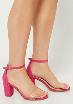 Fuchsia Clear Strap Low Block Heels