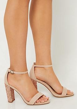 Tan Glitter Heeled Sandals