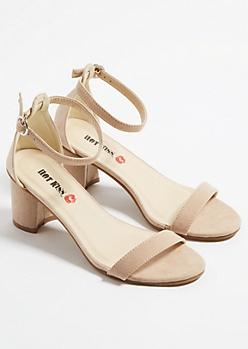 Nude Classic Strap Open Toe Short Heels