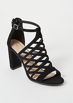Black Cutout Peep Toe Heels
