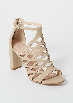 Taupe Cutout Peep Toe Heels