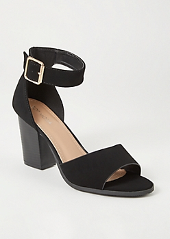 Black Peep Toe Buckled Heels