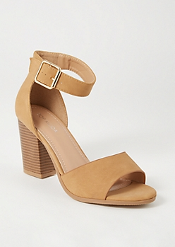 Tan Peep Toe Buckled Heels