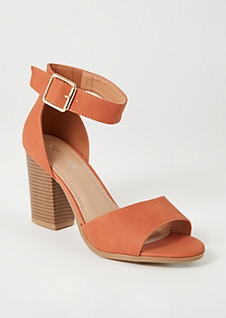 Burnt Orange Peep Toe Buckled Heels