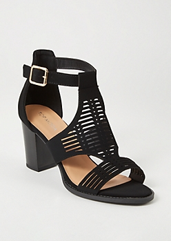 Black Laser Cut Perforated Heels