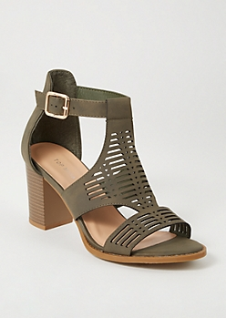 Olive Laser Cut Perforated Heels