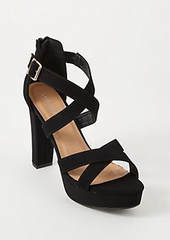 Black Crisscross Platform Heels