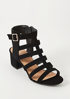 Black Caged Faux Suede Low Heels