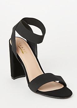 Black Elastic Ankle Strap Heels