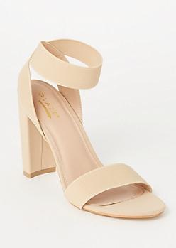 Nude Elastic Ankle Strap Heels