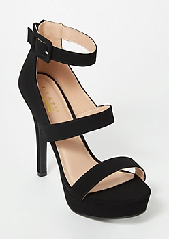 Black Platform Strappy Stiletto Heels