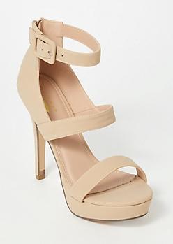 Nude Platform Strappy Stiletto Heels