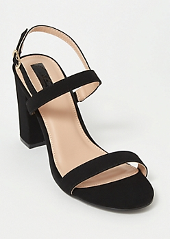 Black Low Heel Two Strap Heels