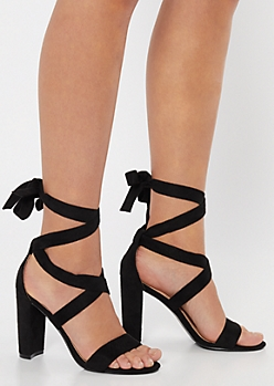 Black Strappy Ankle Wrap Heels